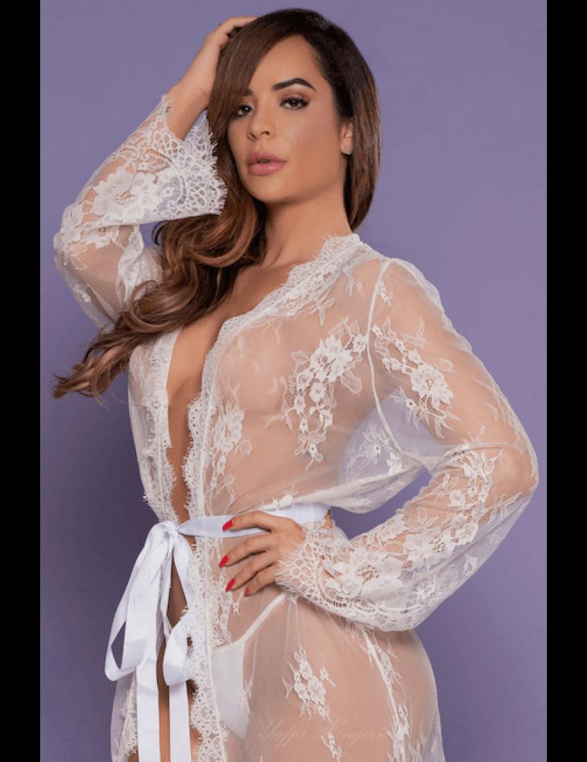 Robe Branco Transparente Sensual - Bodystocking Yaffa