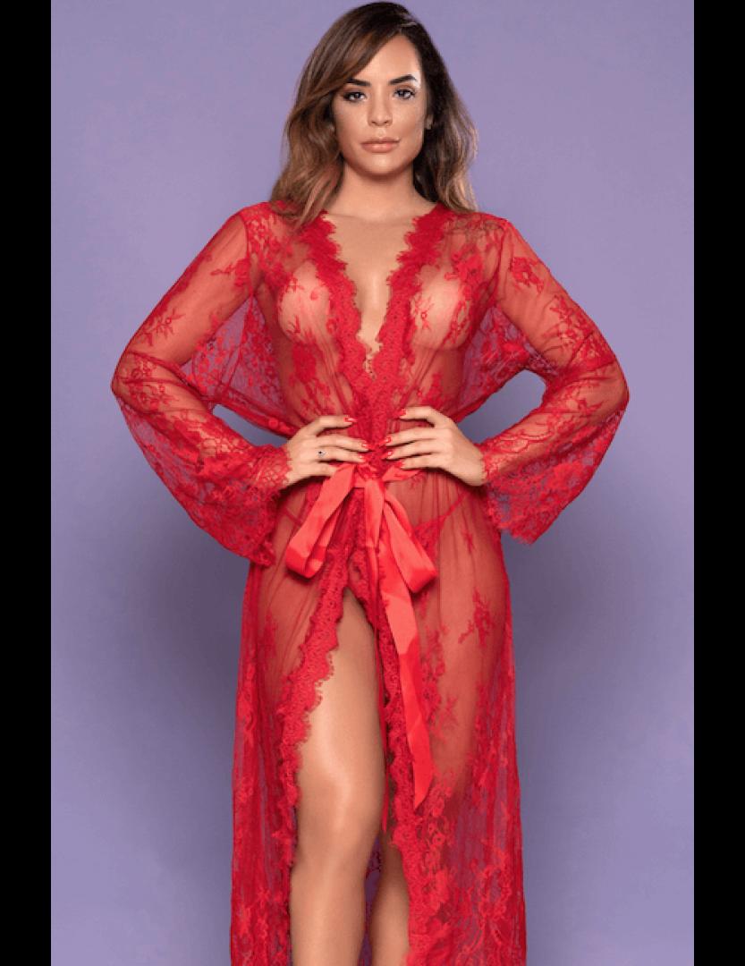 Robe Vermelho Transparente Sensual - Bodystocking Yaffa