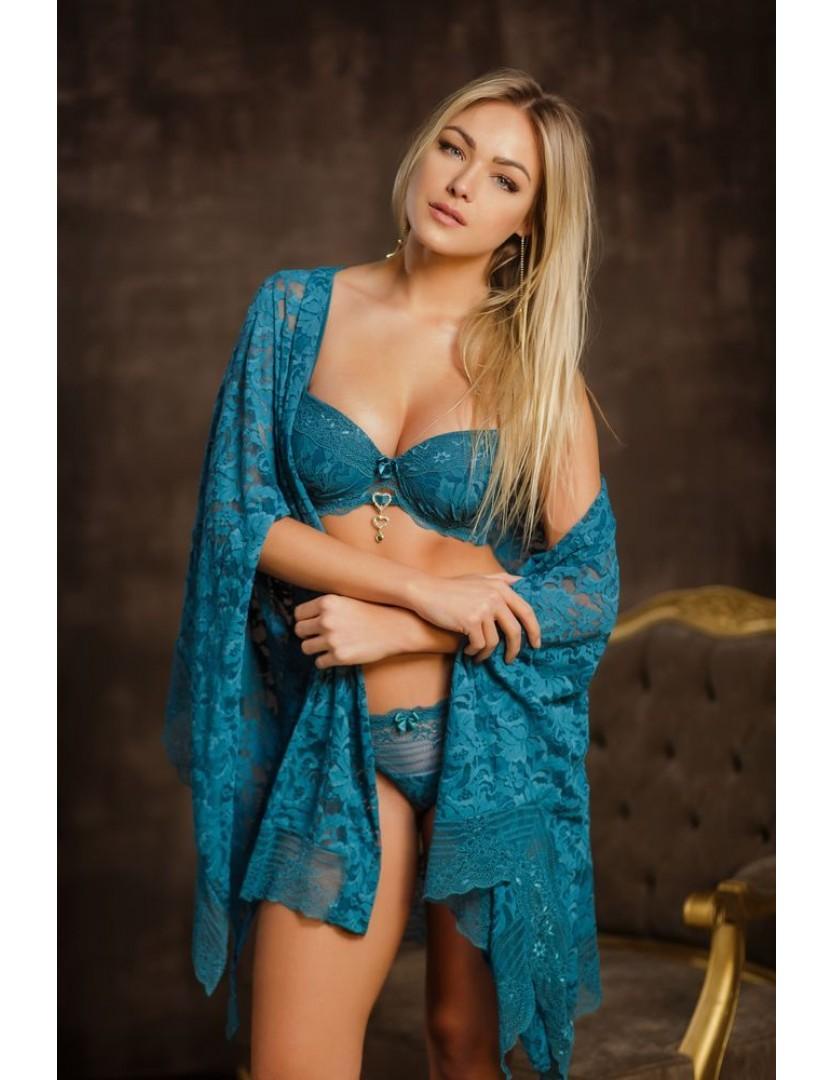 Robe feminino curto em rendão e renda Pavão