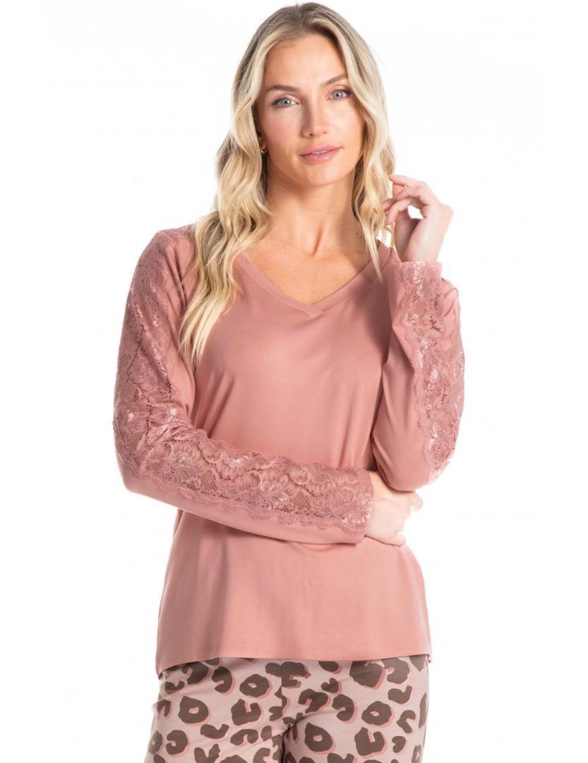 Pijama longo rosa print Essencial