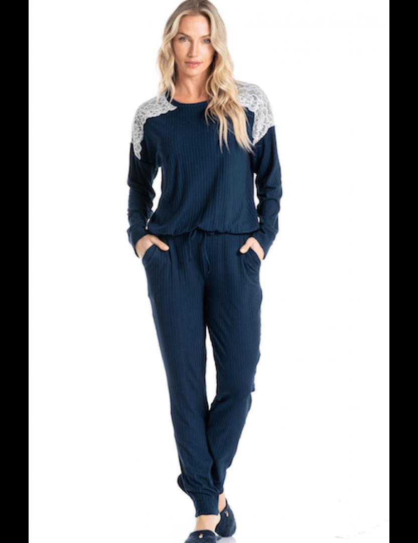 Pijama longo marinho com renda Essencial