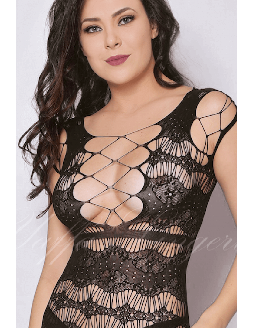 Mini Vestido Preto com Decote Sexy - Bodystocking Yaffa