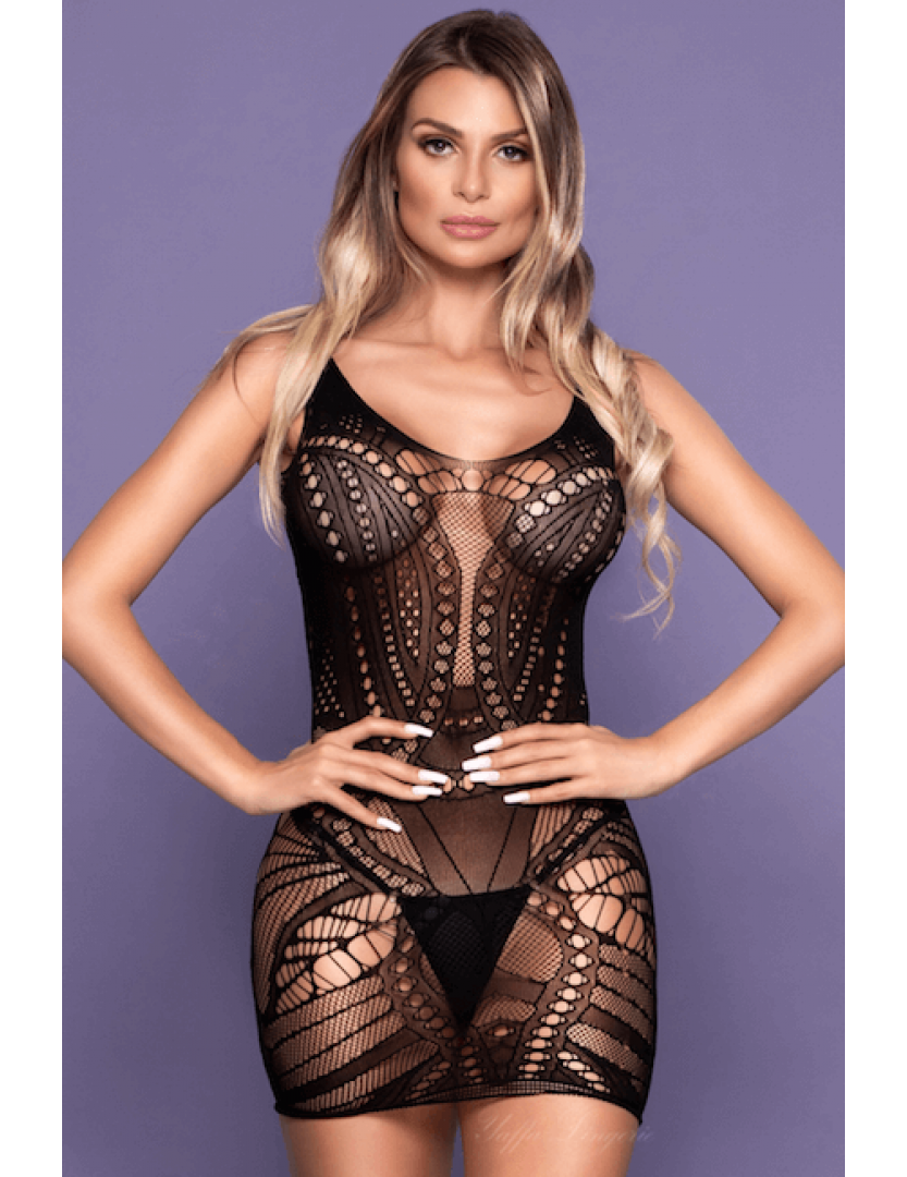 Mini Vestido Arrastão de Alcinha - Bodystocking Yaffa