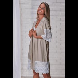 Robe feminino curto em microfibra e renda Poá Dream