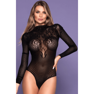Body Decote nas Costas Preto Sexy - Bodystocking Yaffa