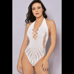 Body Arrastão Cavado Branco Sexy - Bodystocking Yaffa
