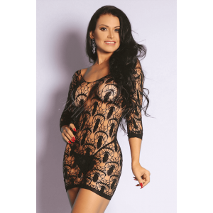 Mini Vestido Rendado Preto Sexy - Bodystocking Yaffa