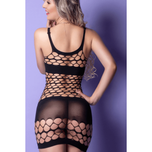 Mini Vestido Preto Arrastão - Bodystocking Yaffa