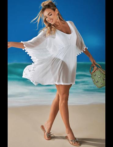 Saída de praia kaftan em tule Sense