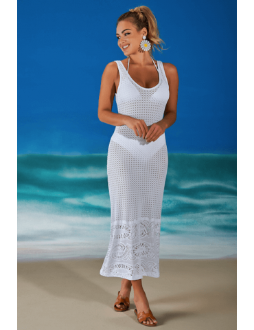 Saída de praia vestido midi em rendão Sense