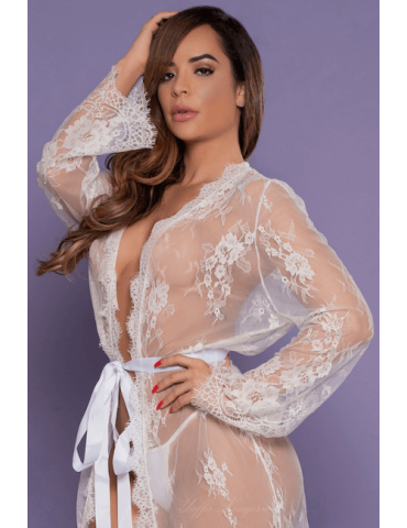 Robe Branco Transparente Sensual - Bodystocking Yaffa