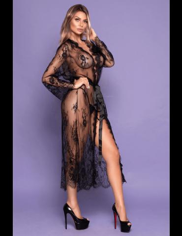Robe Preto Transparente Sensual - Bodystocking Yaffa