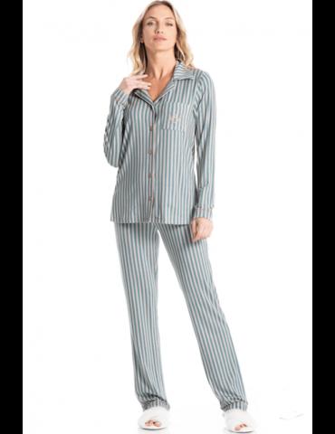 Pijama americano longo listrado Essencial