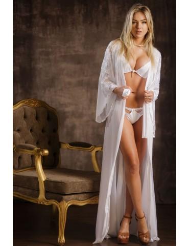 Robe feminino longo branco em renda Rute