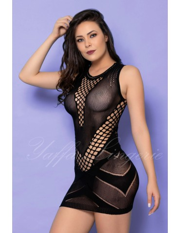 Mini Vestido Preto Arrastão Sexy - Bodystocking Yaffa