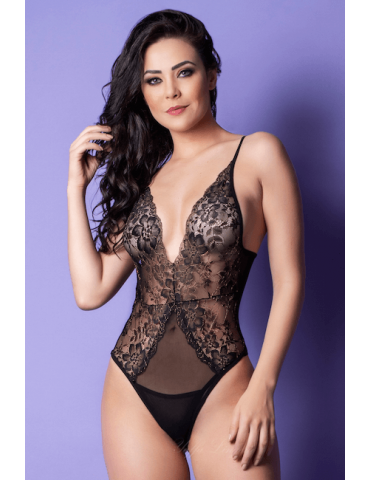 Body Renda e Tule - Bodystocking Yaffa