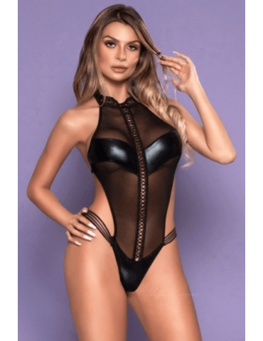 Body Preto de PU - Bodystocking Yaffa