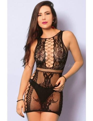 Mini Vestido Preto com Renda e Arrastão Sexy - Bodystocking Yaffa