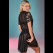 Robe feminino curto preto em tule e renda Sweet