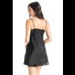 Camisola curta preta em cetim Essencial