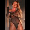 Juju Salimeni - Body Preto com Strass Sexy - Bodystocking Yaffa