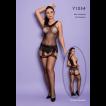 Macacão Preto Arrastão com Franjas Sexy - Bodystocking Yaffa