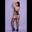 Macacão Preto Arrastão e Renda Sexy - Bodystocking Yaffa